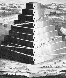 "The Tower of Babel. In Hebrew, the word that is used for this city is ""balal""; which means ""confusion"" or ""mixing."""