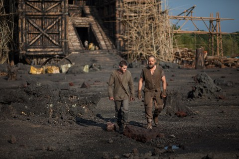 Pictured above Noah (Russell Crowe) and son Ham (Logan Lerman) with construction of the Ark behind.