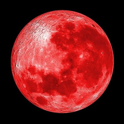 A 'blood moon' occurs when the Earth comes between the sun and the moon. The sunlight shining through the atmosphere of the Earth casts a red shadow on the moon, making it appear red.