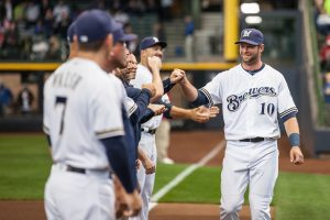 Kirk Nieuwenhuis on Opening Day April 4th, 2016 at Miller Park in Milwaukee. Sara Stathas/Brewers