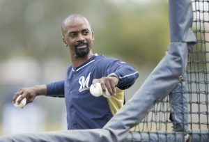 Hitting Coach Darnell Coles Spring Training 2015 at Maryvale Baseball Park in Phoenix Arizona. Scott Paulus/Milwaukee Brewers